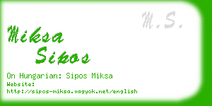miksa sipos business card